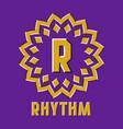 optical illusion rhythm logo in round moving frame vector image