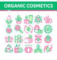 organic cosmetics thin line icons set vector image vector image