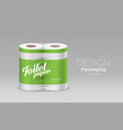 plastic roll toilet paper packaging green design vector image vector image