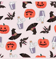 pumpkin and bat halloween seamless pattern vector image vector image