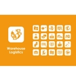 Set of warehouse logistics simple icons vector image