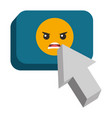 speech bubble with angry emoji and pointer vector image vector image