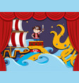 stage play with pirate fighting kraken vector image