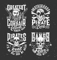 tshirt prints with pirate skull or face in bandana vector image vector image