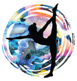 women silhouettestanding bow pulling yoga pose vector image vector image