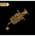 Gold glitter icon of syringe isolated on vector image