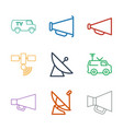 9 broadcasting icons vector image vector image