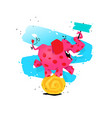 a cartoon pink elephant on a ball image is vector image