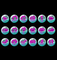 a collection purple buttons in soap bubbles vector image