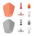 a light lantern a lighthouse a fire a vector image