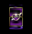 abstract box with jewelry heart and arrow vector image vector image