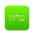 american glasses icon digital green vector image vector image