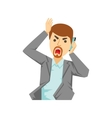 Angry Office Worker Shouting At Smartphone Part vector image vector image