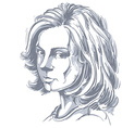 Artistic hand-drawn image black and white portrait vector image vector image