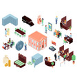 Bank elements isometric set vector image