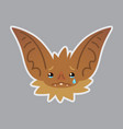 bat emotional head of bat-eared vector image vector image