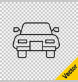 Black line car icon isolated on transparent