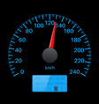 black speedometer scale with blue back light vector image