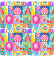 celebratory set of birthday greeting cards kids vector image vector image