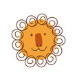 cute lion head with smiling face hand drawn vector image