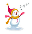 cute snowman singing a song isolated on white vector image