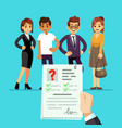 cv form recruiter choosing candidates with cv vector image vector image