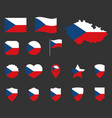 czech flag icons set symbols flag of vector image vector image