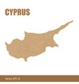 detailed map of cyprus cut out of craft paper vector image