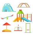 different equipment on playground for children vector image vector image