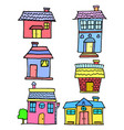 doodle of house set style cartoon vector image vector image