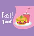 fast food burger and soda menu restaurant vector image