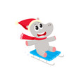 funny hippo character riding a sled in winter vector image vector image