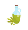 glass bottle of traditional croatian oil green vector image vector image