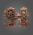 h rusted letter with gears vector image