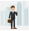 happy businessman make a thumbs gesture with citys vector image vector image