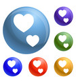 heart shape icons set vector image