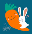 hello easter word and white cute rabbit big carrot vector image