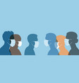 human head silhouettes with medical masks covid19 vector image