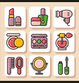 icons of beauty cosmetics 1 vector image vector image
