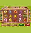 interface slot machine in cartoon wooden vector image vector image