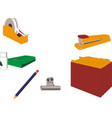 isometric office stationery set stock vector image