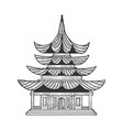japanese temple pagoda house sketch engraving vector image