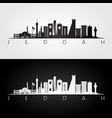 jeddah skyline and landmarks silhouette vector image vector image