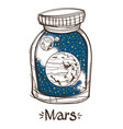 mars in a glass jar the planet of the solar vector image vector image
