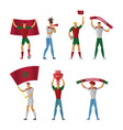morocco football fans cheerful soccer vector image