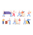 moving and delivery service women delivering box vector image vector image