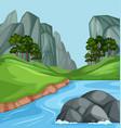 nature river landscape background vector image vector image