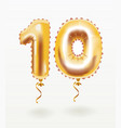 number for birthday balloon ten vector image vector image