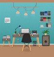 office room interior with workspace workplace vector image vector image
