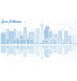 outline san antonio skyline with blue buildings vector image vector image